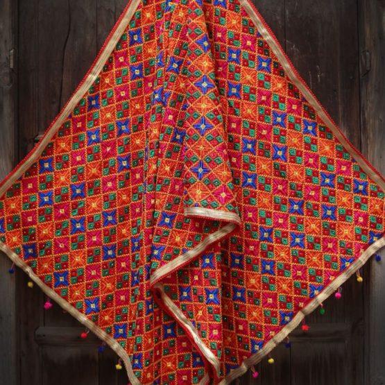 Blue Red Multi Color Phulkari